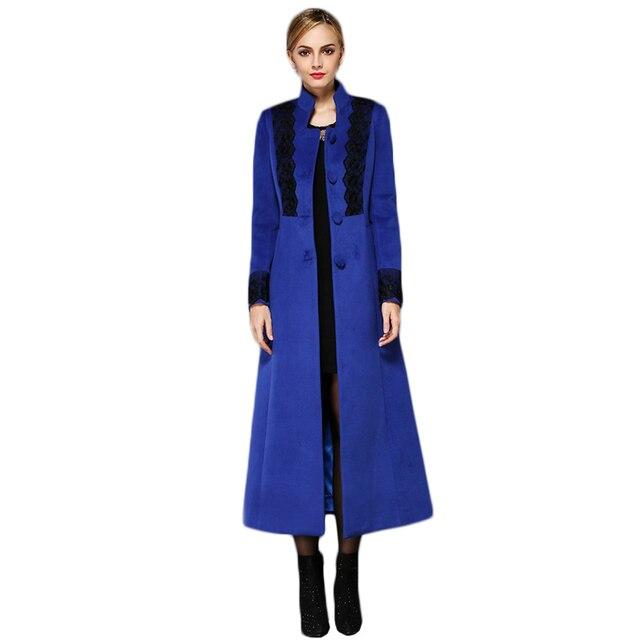 2017 Весной Новый Приход женщин X-длинный Шерстяное Пальто Большой Размер женские Зимние Кашемир Пальто Куртка Кружева И Юбка Леди Куртка F1852