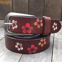 Dropshipping 2016 New Women Large Size Flower Leather Belt Female Wild Pink Buckle Belta Leather Belt