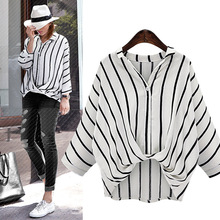 plus size version of a loose vertical striped shirt blouse 2018 summer women's jacket commuting street casual fashion