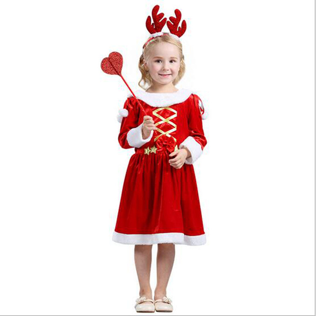 a74798aa1ce72 Newest Style Christmas Red Dress Costumes Kids Santa Claus Cosplay Girls  Cloth Beautiful Red Dress For Christmas Holiday Party