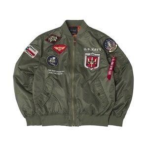 Image 5 - Осенний топ пистолет Us navy MA1 letterman varsity бейсбольный пилот ВВС летный колледж Тактическая Военная армейская куртка для мужчин 2020