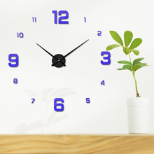 Hot Sale Home Decoration Living Room Quartz Needle 3D Large Number Wall Clock Creative Mounted Clocks Free Shipping