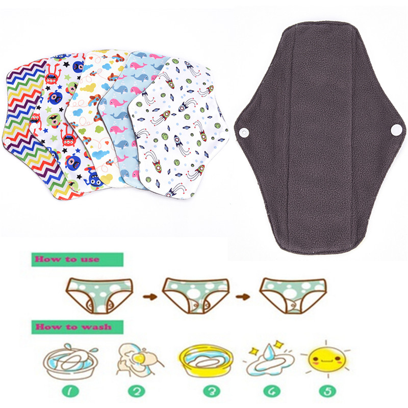 Cartoon Print Menstrual Pad Female Hygiene Bamboo Charcoal Cloth Reusable Menstrual Sanitary Napkin Lady Period Vagina Care