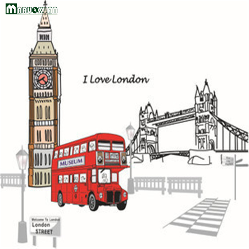 I Love London Tower Vintage Street Lamp Red Buses Wall Stickers London Clock Tower Romantic Home Decoration For The Living...  90cm clocks   Midnight Sun – 90cm against the clock I Love London Tower Vintage Street Lamp Red Buses Wall Stickers London font b Clock b