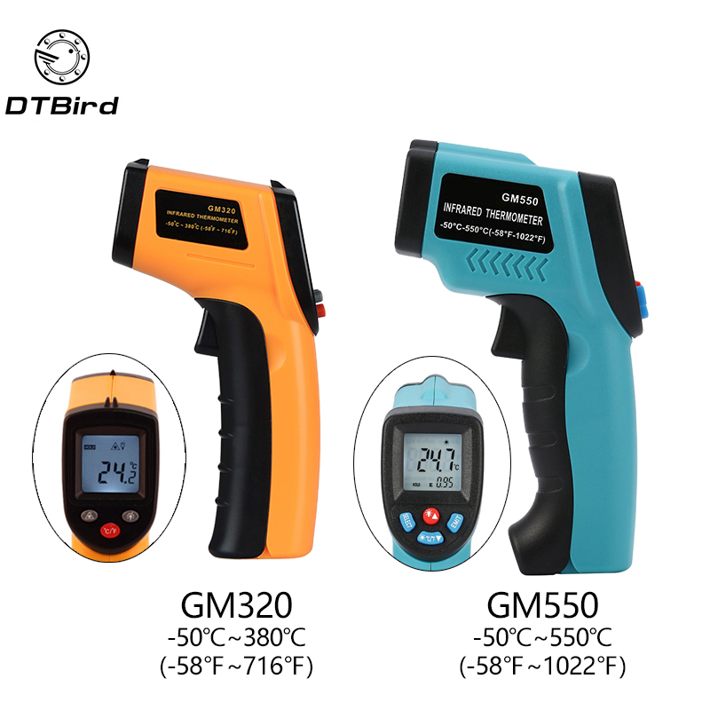 Digital GM320 Infrared Thermometer Non Contact Infrared Thermometer Pyrometer IR Laser Temperature Meter Point Gun -50~380degree holdpeak hp 1320 digital laser infrared ir thermometer gun meter non contact 50 1320c 58 2480f temperature tester pyrometer