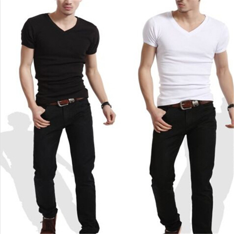 New Men's Plain Slim Fit Plain V-Neck Crew Neck T-Shirts Muscle Tee Short Sleeve