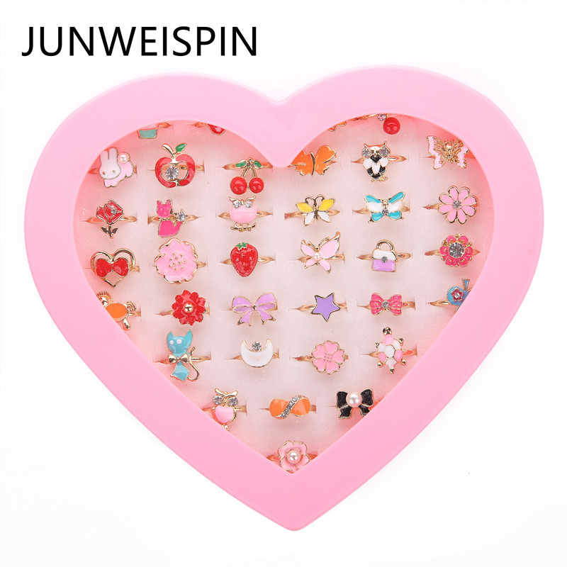 JUNWEISPIN 36-12PCS Kids Children's Little Girl Jewelry Adjustable Ring in Box Girl Pretend Play and Dress Up Ring Random Shapes