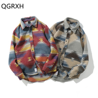 Vintage Folk Custom Shirts Geometric Long Sleeve flannel Shirt Men for Women Casual Harajuku Patchwork Mens Rapper Button Shirts