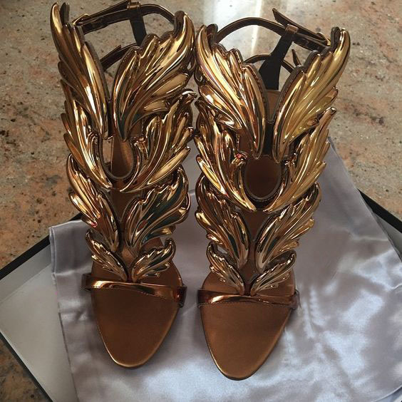 LoneLinec Design Cruel Summer Leaves Angle Wings Woman Buckle Strap Gladiator High Heels Sandals Women Gold Silver Yellow White in High Heels from Shoes