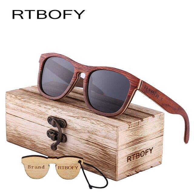 RTBOFY Carré Polarisées lunettes de Soleil En Bois Hommes Multi-étages Bois  Lunettes Femmes À 946a9e811e38
