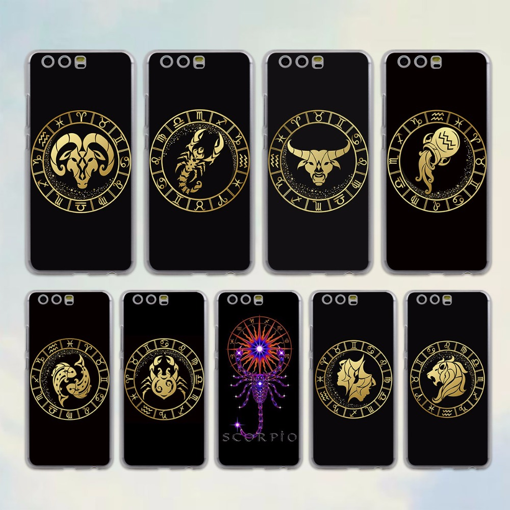 Zodiac Signs style transparent clear Case for huawei P10 P9 Lite P10 Plus P8 Ascend G7 G8 Mate 9 S 8