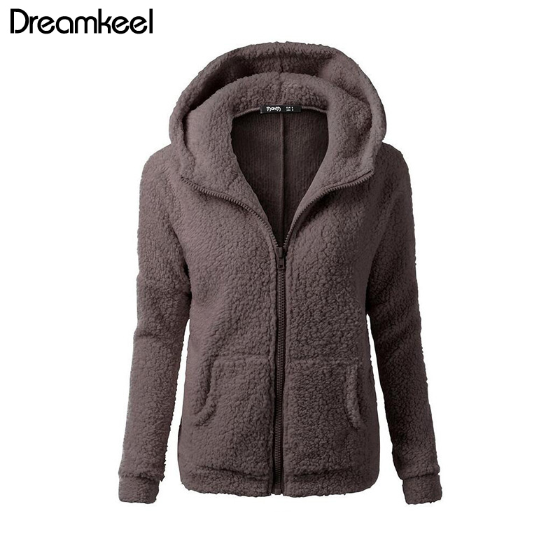 HTB1uBLNQCzqK1RjSZFLq6An2XXaL Solid Color Coat Women Thicken Soft Fleece Fashion Casual Outwear Coat Winter Autumn Warm Jacket Hooded Zipper Overcoat Female Y