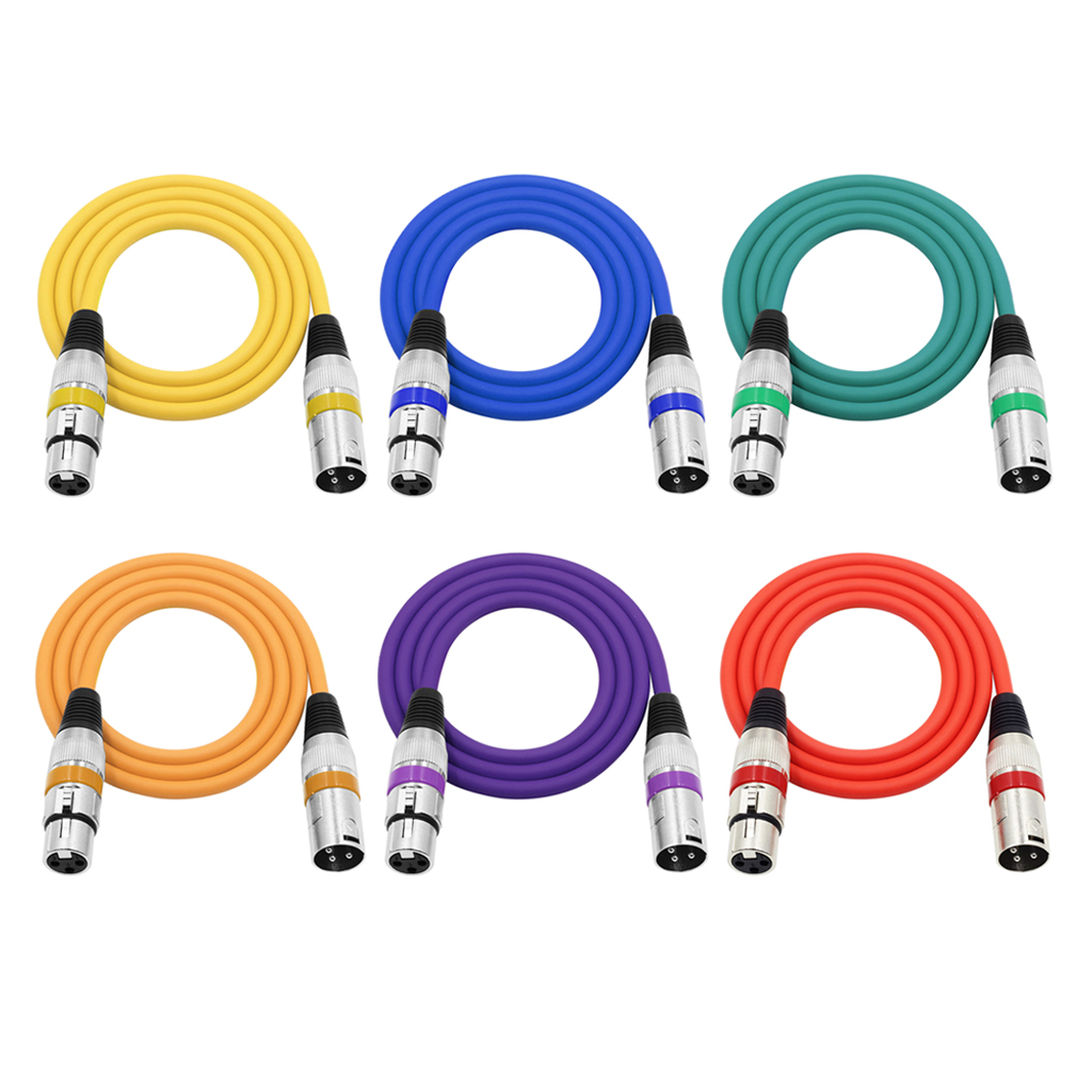 Hemobllo 6PCS 2M DMX512 Microphone Cable Male to Female XLR Color Cable Instrument Cable Karaoke Cable D 6 Color
