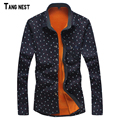 TANGNEST 2017 New Men's Shirts Fleece Autumn Winter Men's Business Style Print Shirts Male Warm Casual Shirts MCL1703