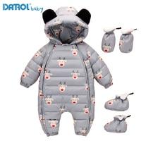 12M 36M White Duck Down Baby Winter Romper Cute Cartoon Baby Boy Parkas Newborn Rompers Toddler