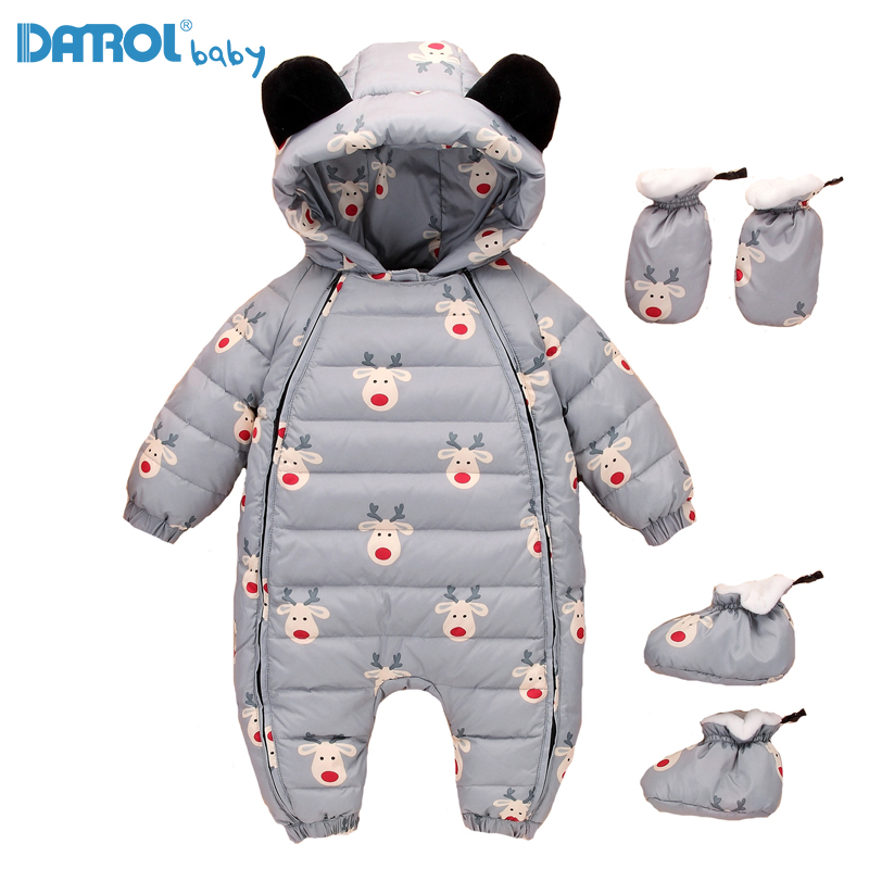 12M-36M White Duck Down Baby Winter Romper Cute Cartoon Baby Boy Parkas Newborn Rompers Toddler Winter Snowsuit Shoes Free 8863