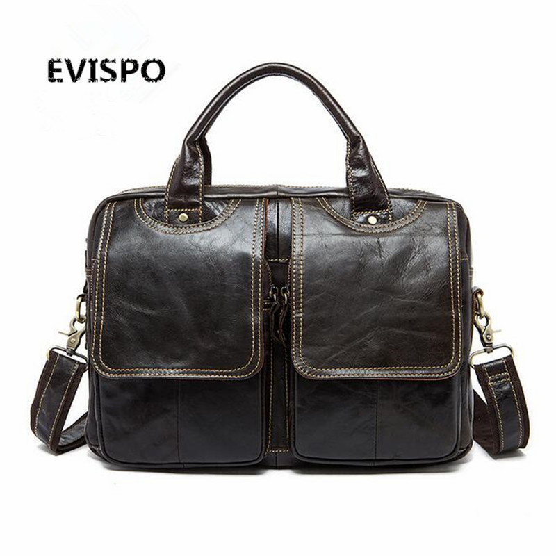 EVISPO Genuine Leather Men Bag Men's Handbag Fashion Messenger Bags Laptop Briefcase Portfolio Tota Causal Shoulder Man Bag xiyuan genuine leather handbag men messenger bags male briefcase handbags man laptop bags portfolio shoulder crossbody bag brown