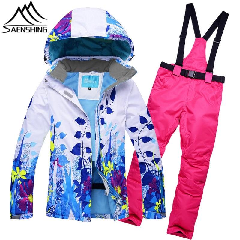 SAENSHING Brand Ski Suit Women Thermal Waterproof Ladies Ski Jacket Snowboard Pants Outdoor Skiing Snowboarding Suits Winter Set men ski brand snowboard costume skiing suit sets waterproof