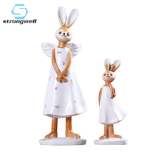 Mocha Rabbit Mother And Daughter Pastoral Angel Figurines Ornaments Resin Crafts Creative Miniature Home Decor Christmas