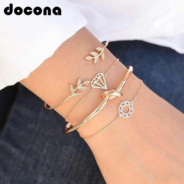 docona 4pcs/1set Punk Bracelet Simple Geometric Leaf Knot Metal Chain Bracelet Bohemian Retro Bracelet Jewelry Accessories 6115