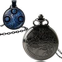 Fashion Black Necklace Antique Style Doctor Who Quartz Pocket Watch Fob Chain Pendant Set with Box Men Women Gift