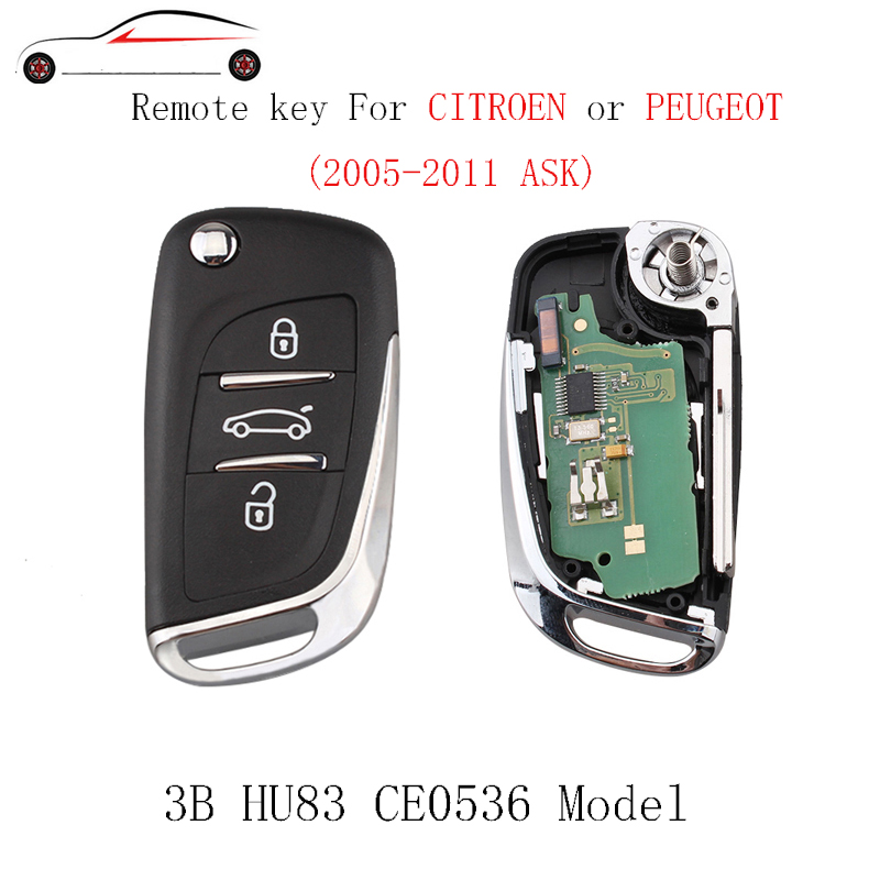 GORBIN 3Button New Style Remote <font><b>Key</b></font> For CITROEN C1 2 3 4 5 Berlingo Picasso For <font><b>PEUGEOT</b></font> 207 208 307 2005-2011 ASK signal PCF7961 image
