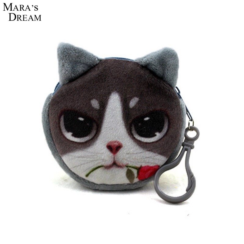 Mara's Dream 2018 Coin Wallet Oval Zipper Coin Wallets 3D Animal Printing Children Money Bag Women Plush Coin Purses 2017new coin purses wallet ladies 3d printing cats dogs animal big face fashion cute small zipper bag for women mini coin purse