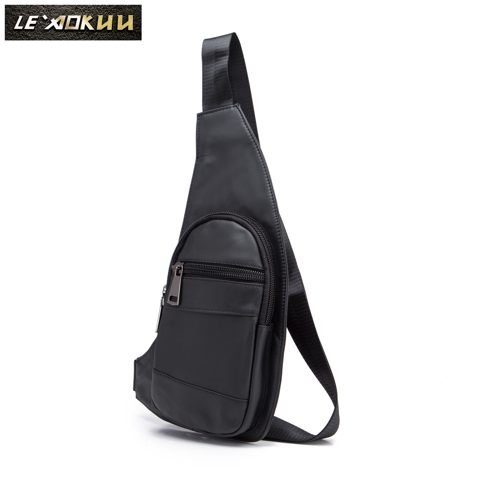 Men Genuine Quality Leather Casual Fashion Travel Chest Pack Sling Bag Design Triangle One Shoulder Crossbody Bag Daypack 2020