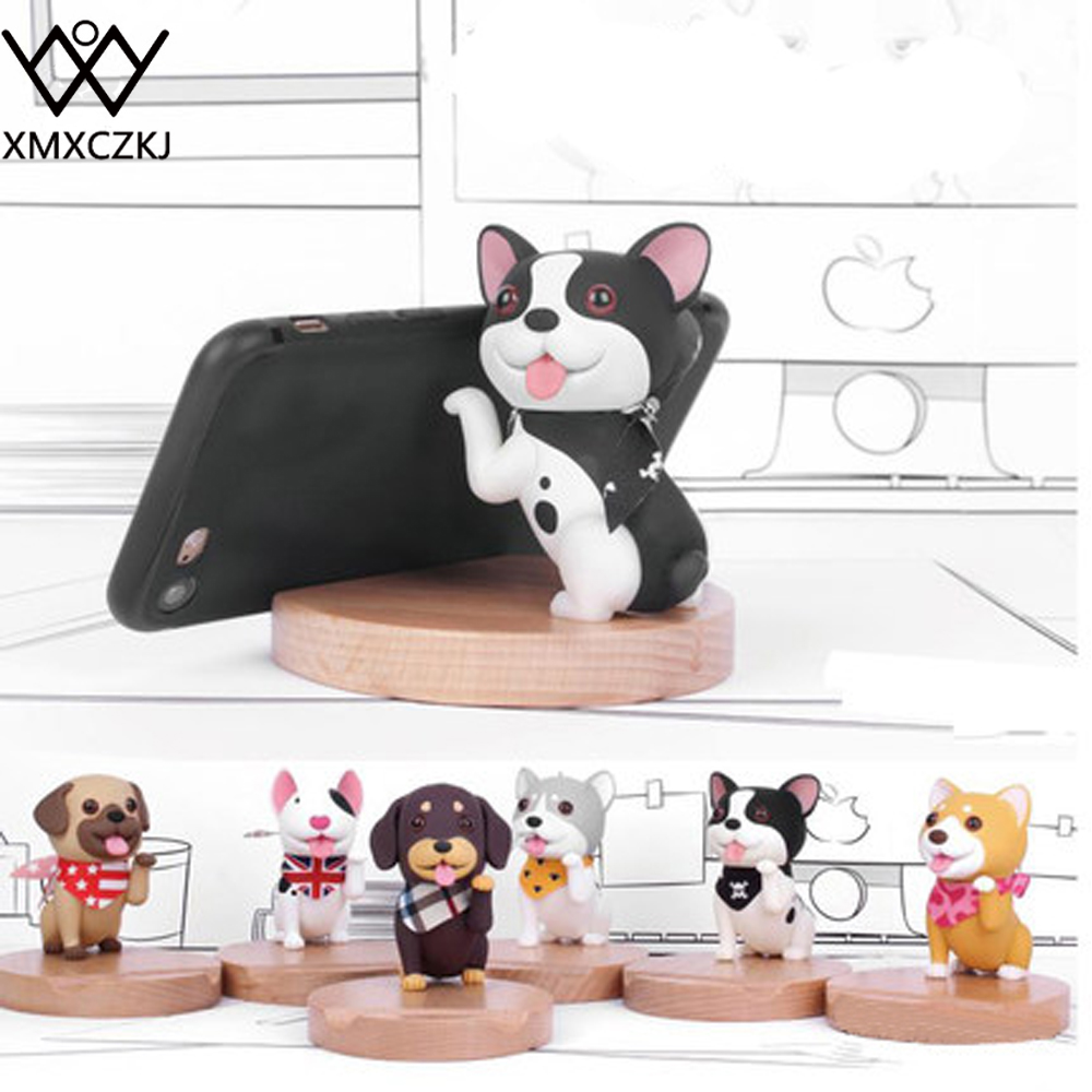 XMXCZKJ Mobile Phone Wood Watch Holder Desk Table Stand Support For Iphone X 8 Cute Dog Bamboo Smartphone Desktop Tablet Holder