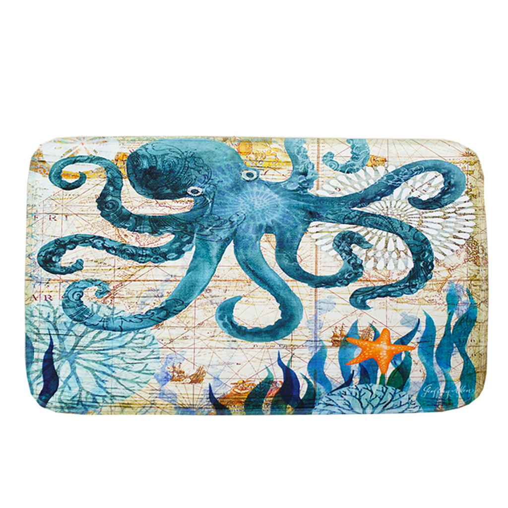 Sea Style 3pcs Printed Pedestal Rug Bathroom Carpet Set