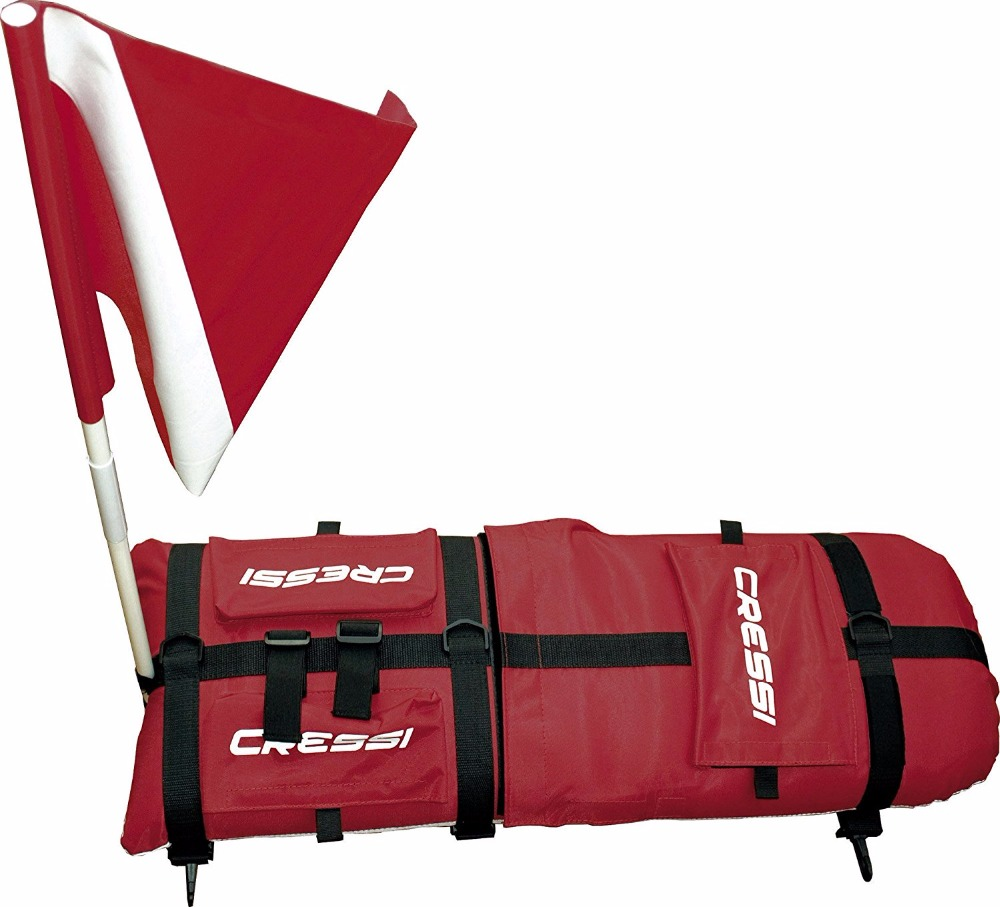 Cressi Technical Inflatable Float with Dive Flag Ideal for Diving Freediving Spearfishing Snorkeling