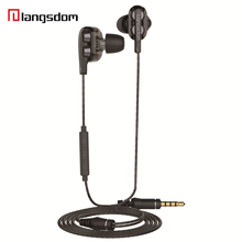 ФОТО original langsdom earphone dual dynamic balanced armature with mic sport headphones stereo surround sound earbuds for android