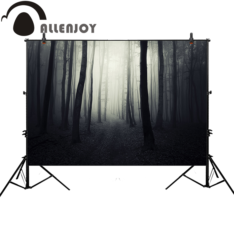 Allenjoy background photography Halloween horror forest bokeh tree backdrop professional photocall customize original design plastic standing human skeleton life size for horror hunted house halloween decoration