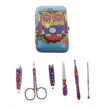6Pcs/Set Flower Printed 2 Kinds Professional Owl Manicure Set Nail Care Set Kit