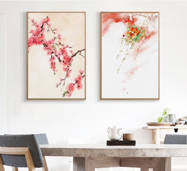 2 Pieces Canvas Paintings Living Room Decoration Paintings Nordic Small  Fresh Sofa Simple Landscape Painting With