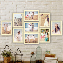9pcs/set Vintage Imitation Wood Photo Frame 7 inch Frame Wall Hanging Craft Creative Picture Frames Wedding Gift Home Decoration(China)
