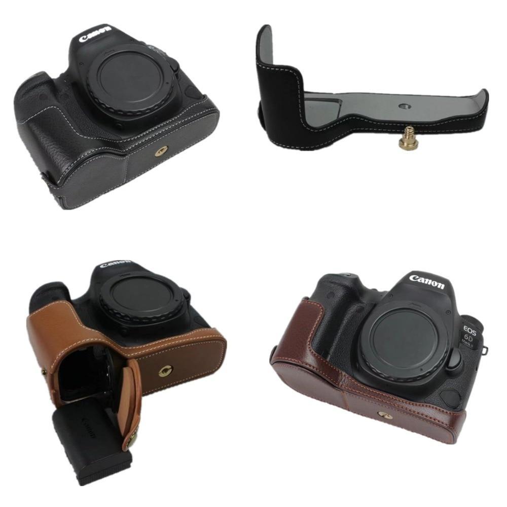 Из натуральной кожи половина дела ручка для видео Камера чехол для Canon EOS 6D Mark II  ...