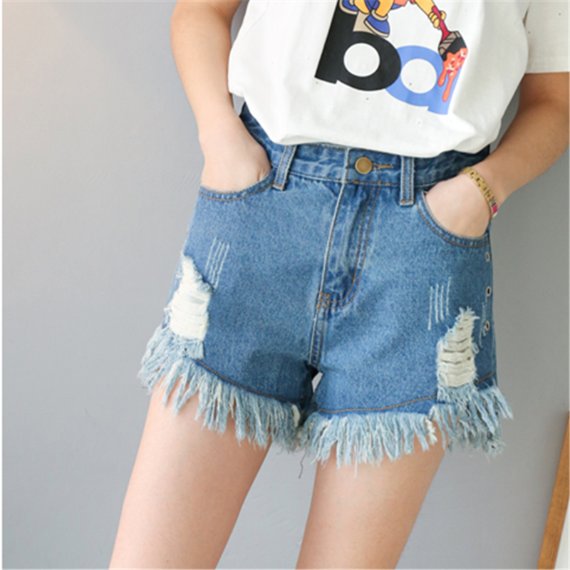 Summer New Arrivals Vintage Ripped Hole Tassel Fringe Blue Denim Shorts Women Casual Pocket 2017 Girls Hot Jeans Shorts S-5XL women girls casual vintage frayed ripped hole wash denim overall suspender jean pants cute denim shorts