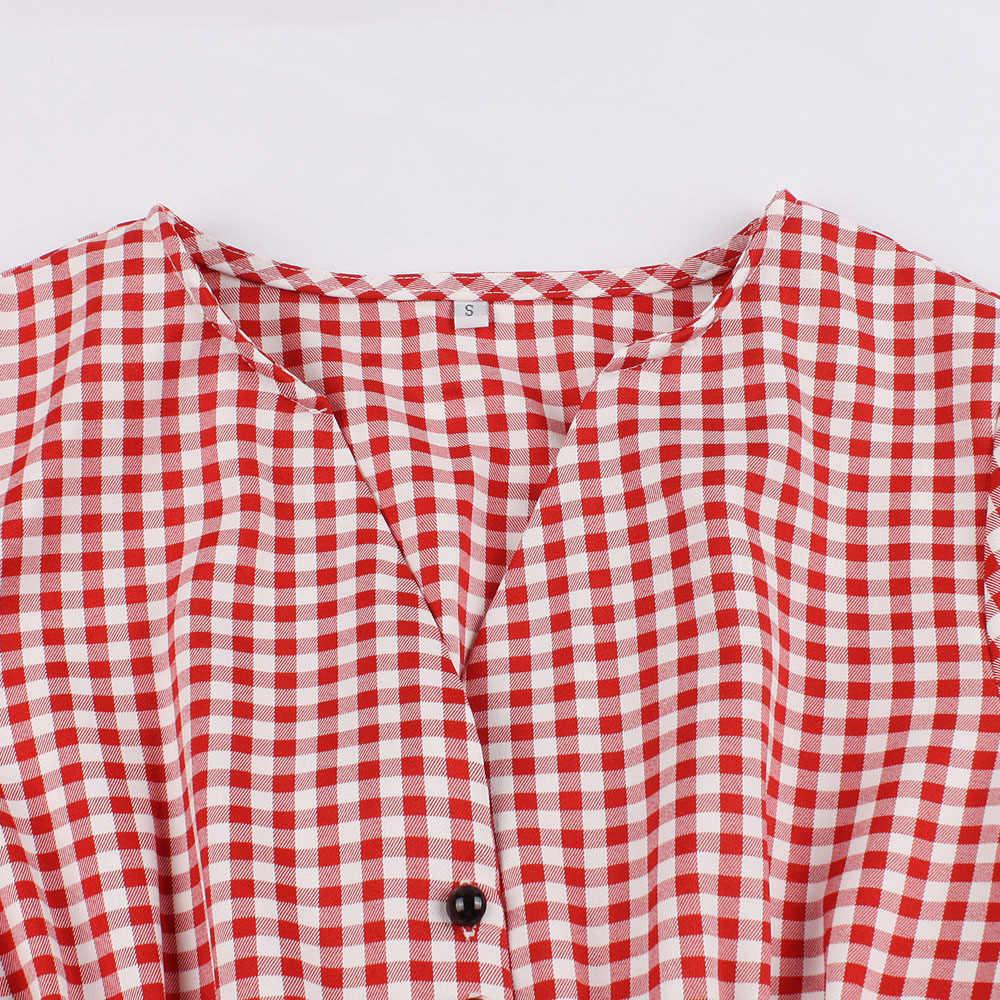 Joineles Плюс Размер красное клетчатое летнее женское ретро платье 60 s Одри Хепберн винтажное платье с v-образным вырезом высокая Талия Вечерние платья 4XL