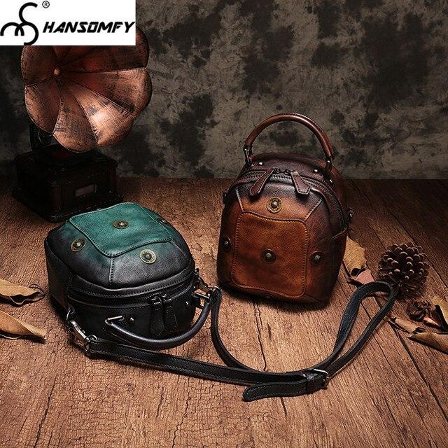 2018 new first layer leather women shoulder bag retro casual mobile diagonal handbag female messenger Vintage crossbody bags