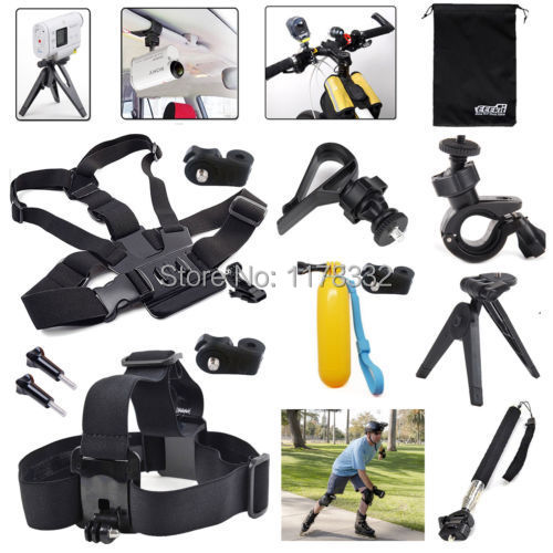 for S Action Cam Camer,Head/Chest Harness/Car Sun Visor/Monopod Mount