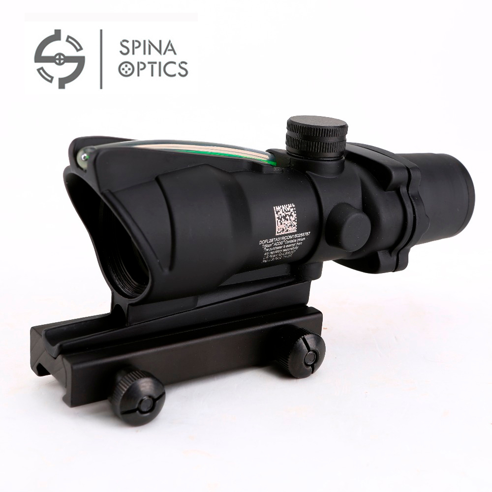 SPINA OPTICS Hunting Riflescope ACOG 4X32 Real Fiber Optics Red Green Illuminated Chevron Glass Etched Reticle Optical Sight