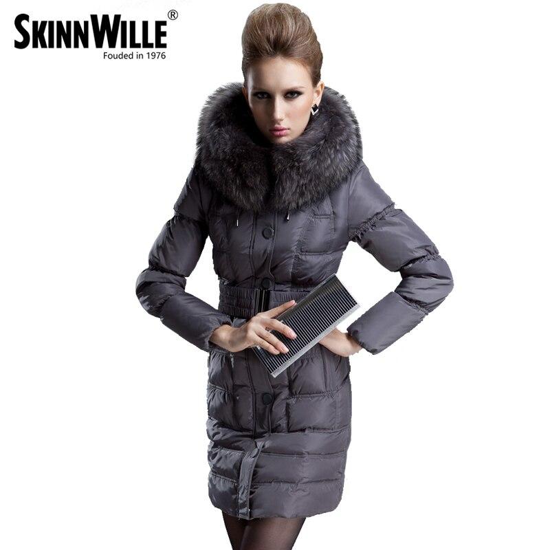SKINNWILLE 2017 новый модный стильный пуховик женское пальто натуральный мех новый бренд длиннее зимнее пальто