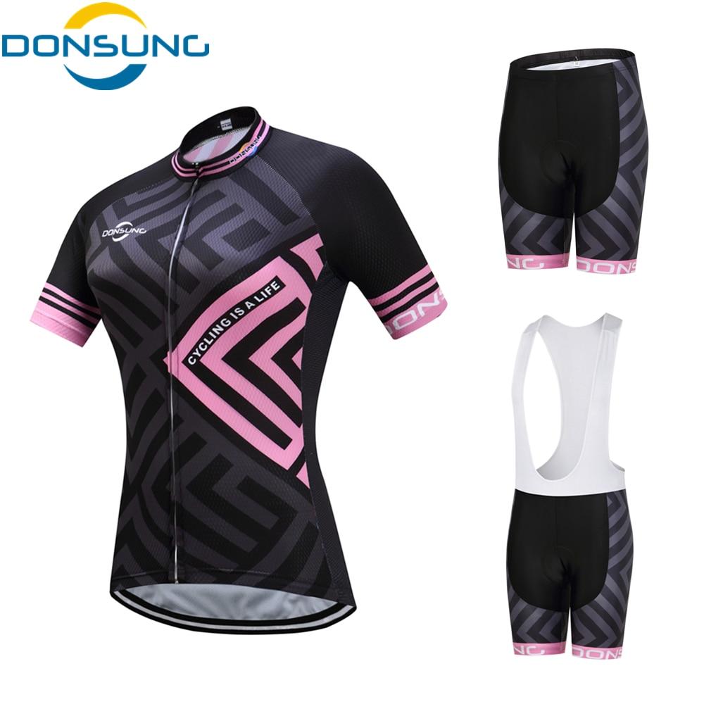 DONSUNG Brand Cycling Set Women 2017 Pro Bicycle Team MTB Cycling Clothing Short Sleeve Cycling Sets Summer Cycling Jersey Set
