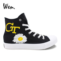 Wen Black Shoes Design Hand Painted Georgia Tech Wasp Bee Flower High Top Canvas Sneakers Women Men Athletic Skateboard Shoes