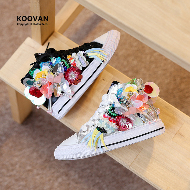 Koovan Children Boots 2017 Spring Autumn Hand-beaded Sequins Girls Flowers Casual Shoes Personality Sports Shoes Canvas Casual