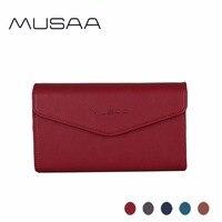 MUSAA Fine Women's Card Holder Phone Wallet Convenient Zipper Coin Purse Fashion Matching Envelope Clutch Bags for Girl MS1042