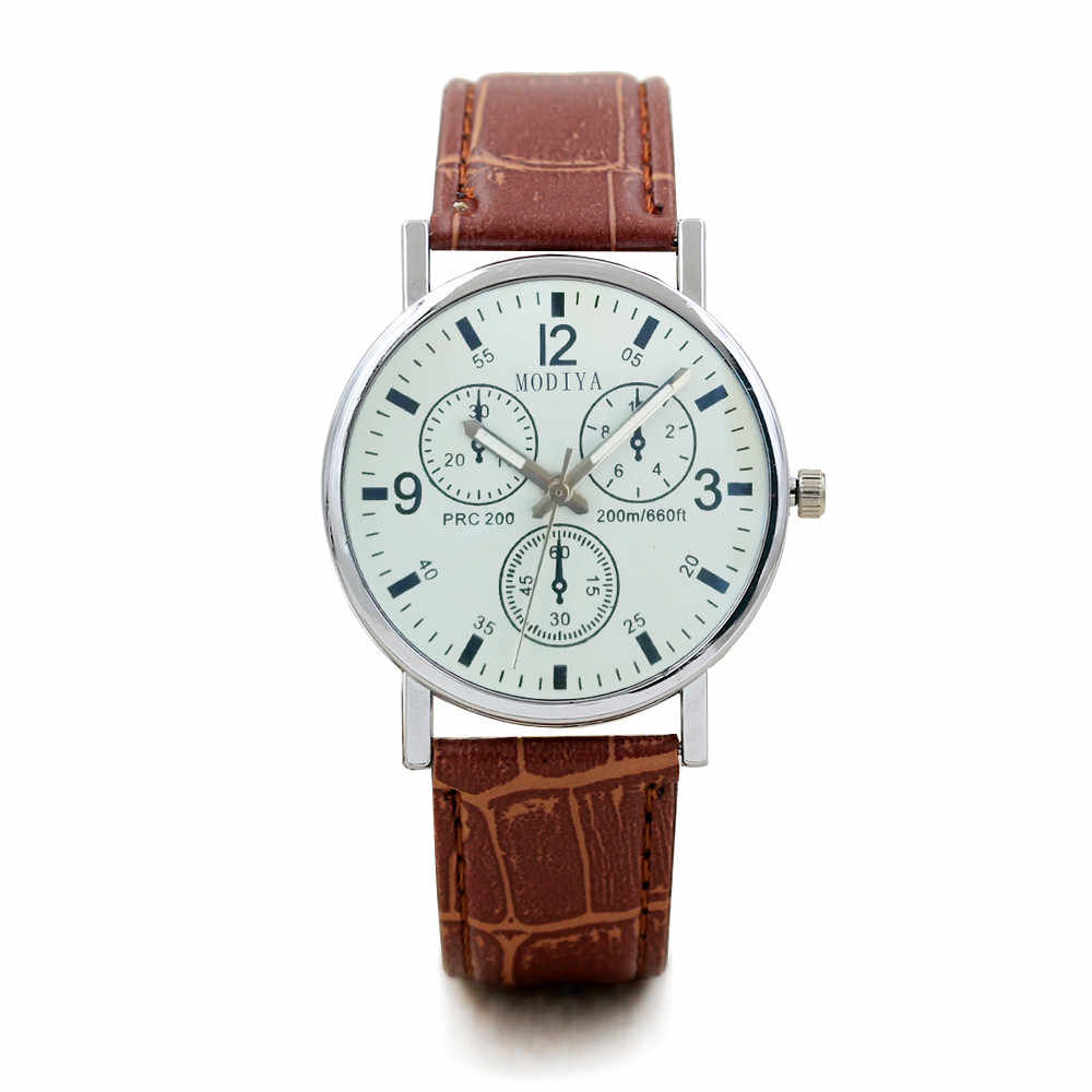 Wrist Watches For Man Mens Fashion Three Dials Leather Band  Round Watches Quartz Analog Wrist Watch Date NewGift For Men Clock