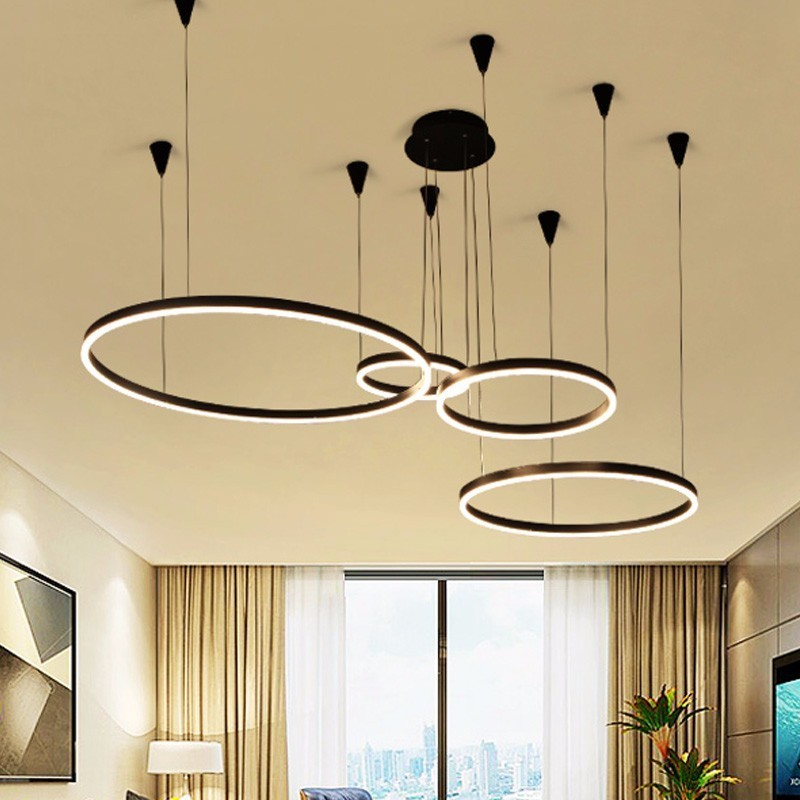 Modern LED Chandelier Lights Fixtures For Nordic Living Room Parlor Decor Home Black Rings Hanging Lamp Lustre With Remote
