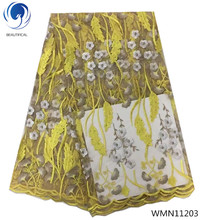 BEAUTIFICAL yellow african lace flower fabric wedding fashion free shipping latest fabrics for women 5yards/lot WMN112